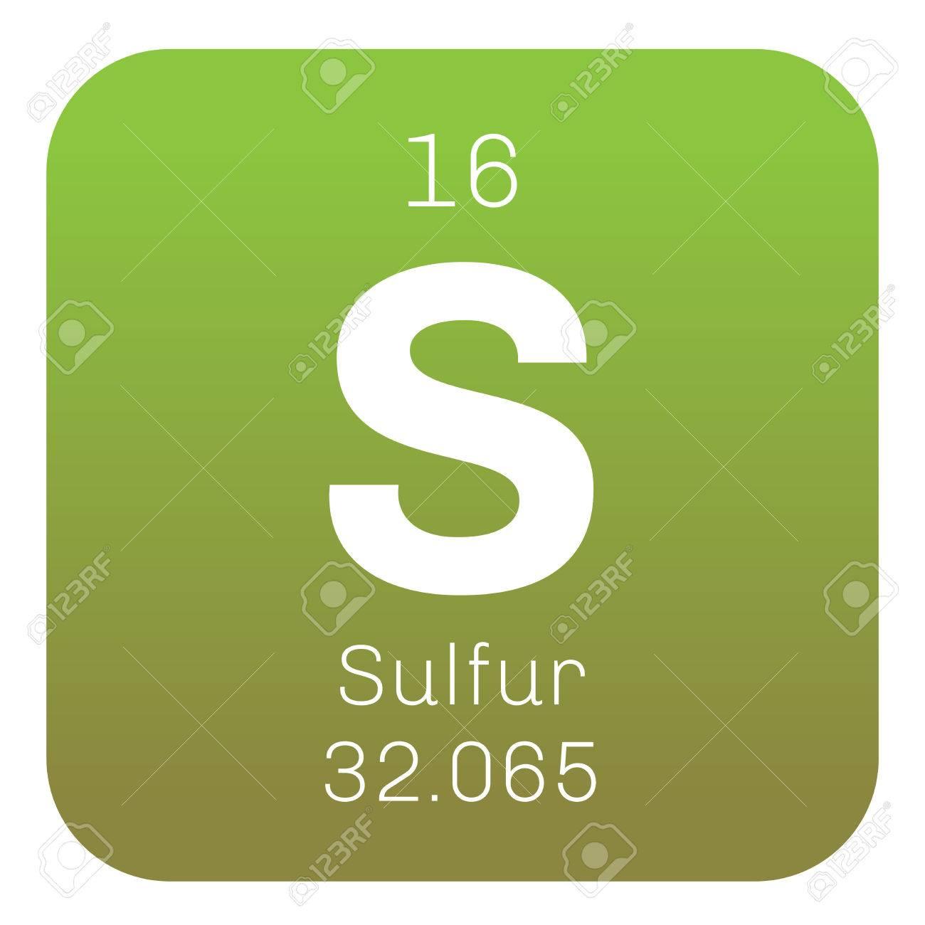 Sulfur chemical element abundant non metal element colored sulfur chemical element abundant non metal element colored icon with atomic number and buycottarizona Image collections