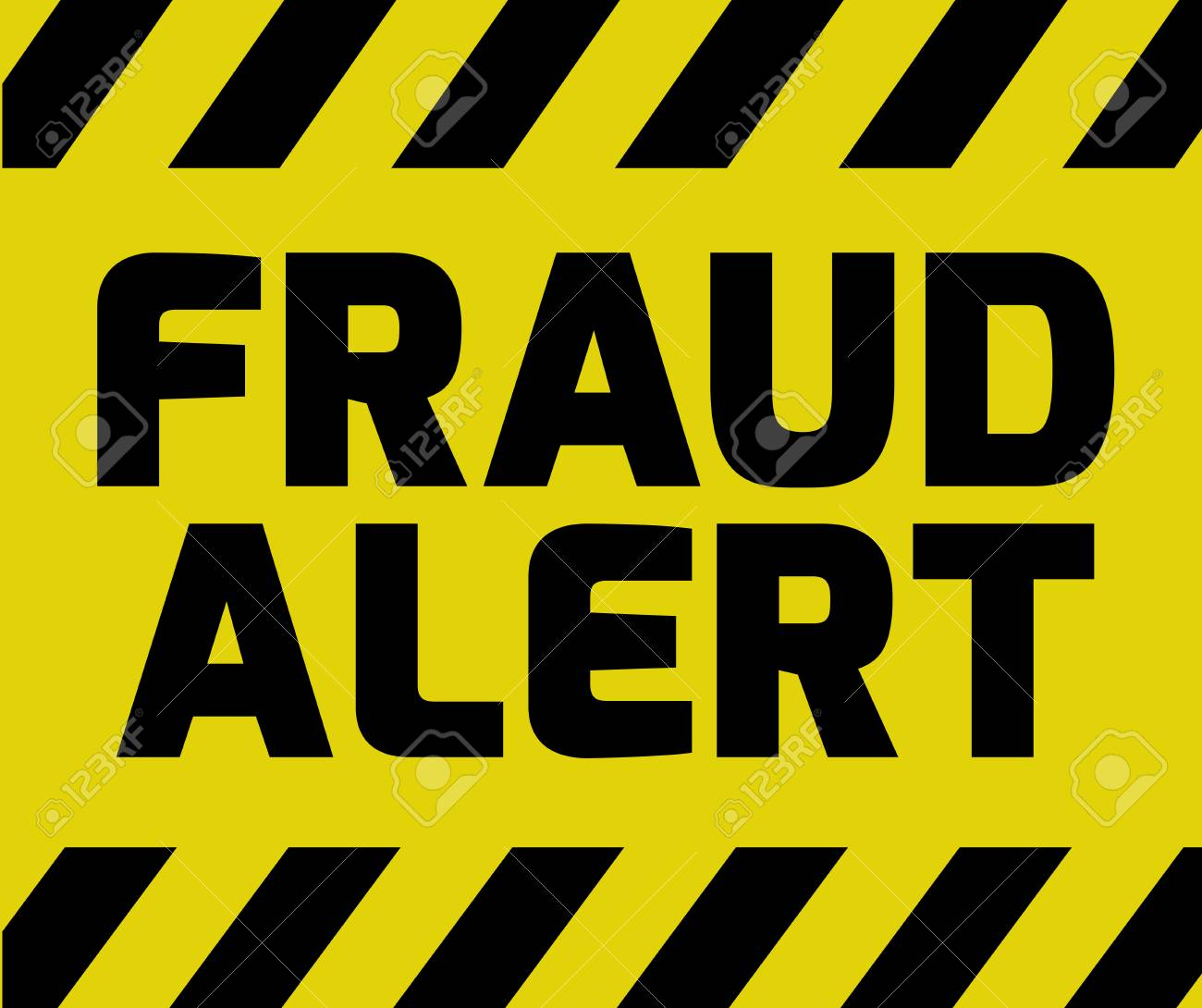 Fraud Alert sign yellow with stripes, road sign variation. Bright vivid sign with warning message. - 62996383