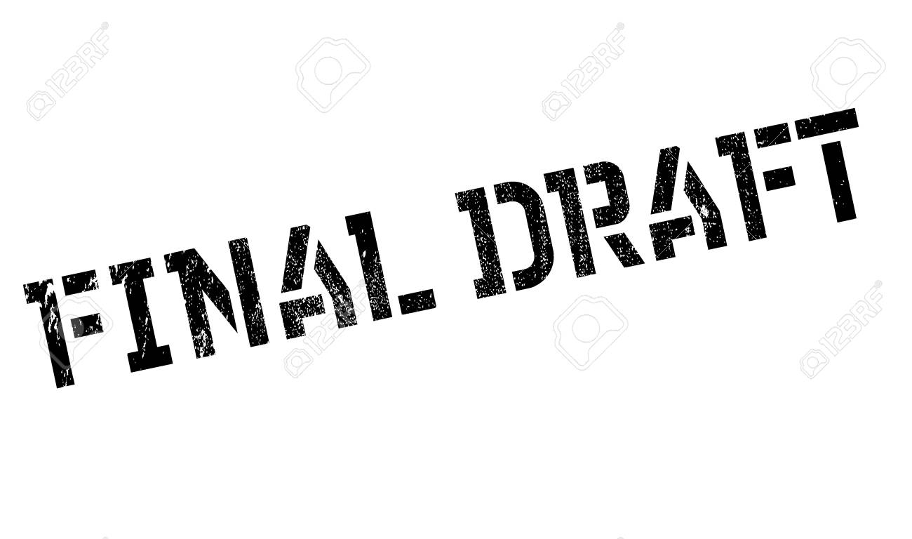Final Draft rubber stamp. Grunge design with dust scratches. Effects can be easily removed for a clean, crisp look. Color is easily changed. Stock Photo - 67905160