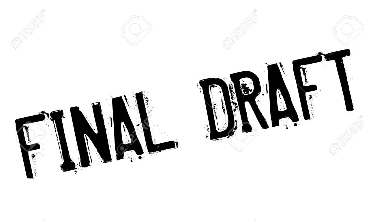 Final Draft rubber stamp. Grunge design with dust scratches. Effects can be easily removed for a clean, crisp look. Color is easily changed. Stock Photo - 67905161
