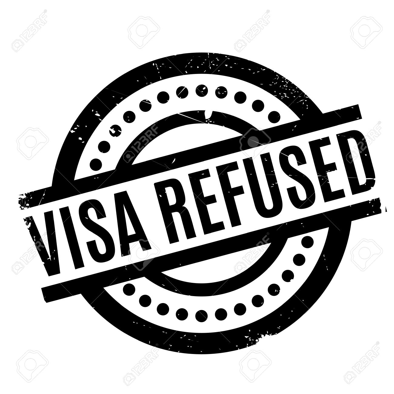 Visa Refused Rubber Stamp Grunge Design With Dust Scratches