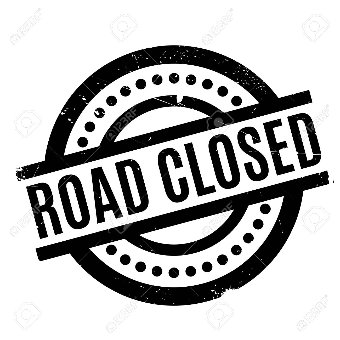 Road Closed rubber stamp. Grunge design with dust scratches. Effects can be easily removed for a clean, crisp look. Color is easily changed. - 71189855