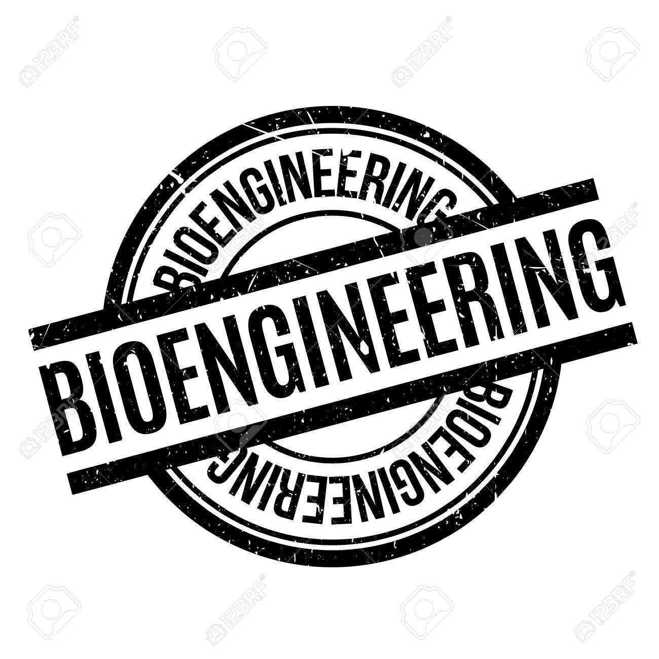 Bioengineering rubber stamp. Grunge design with dust scratches. Effects can be easily removed for a clean, crisp look. Color is easily changed. - 71190724