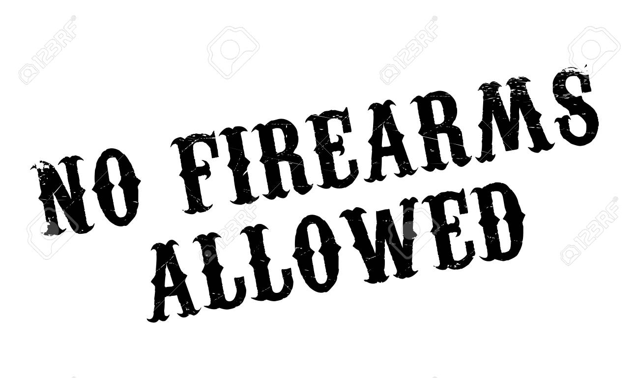 No Firearms Allowed rubber stamp. Grunge design with dust scratches. Effects can be easily removed for a clean, crisp look. Color is easily changed. - 74282898