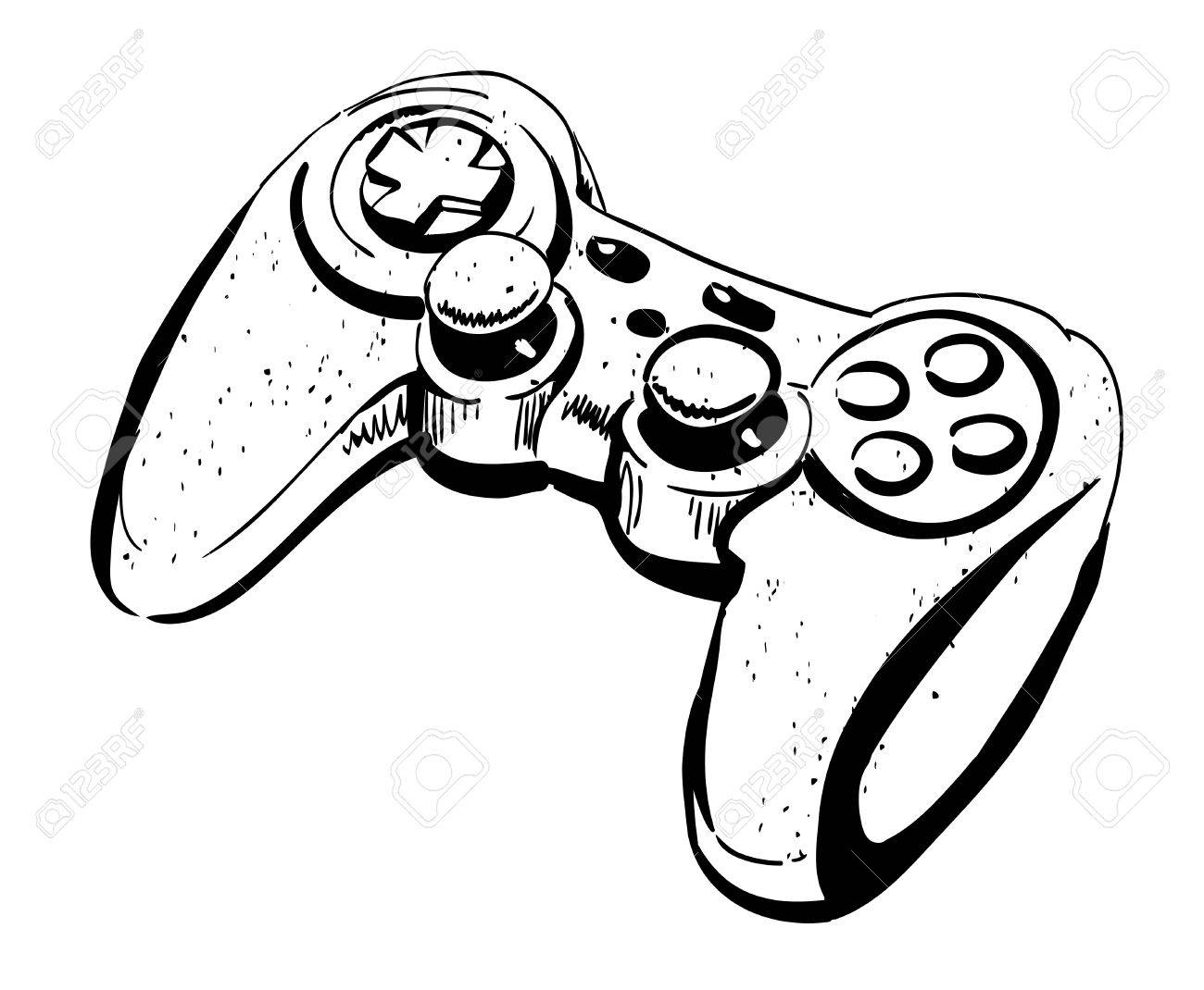 D Line Drawing Game : Cartoon image of joystick. an artistic freehand picture. royalty