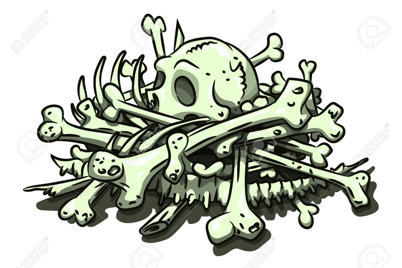 Cartoon image of pile of bones - 77706666