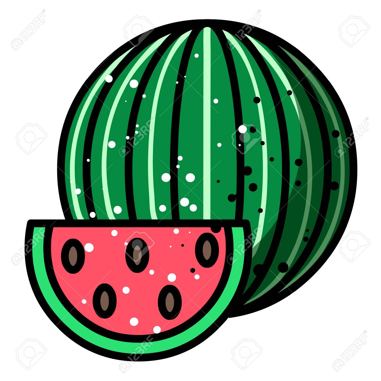 Cartoon Image Of Watermelon Icon. Summer Symbol Stock Photo, Picture ...