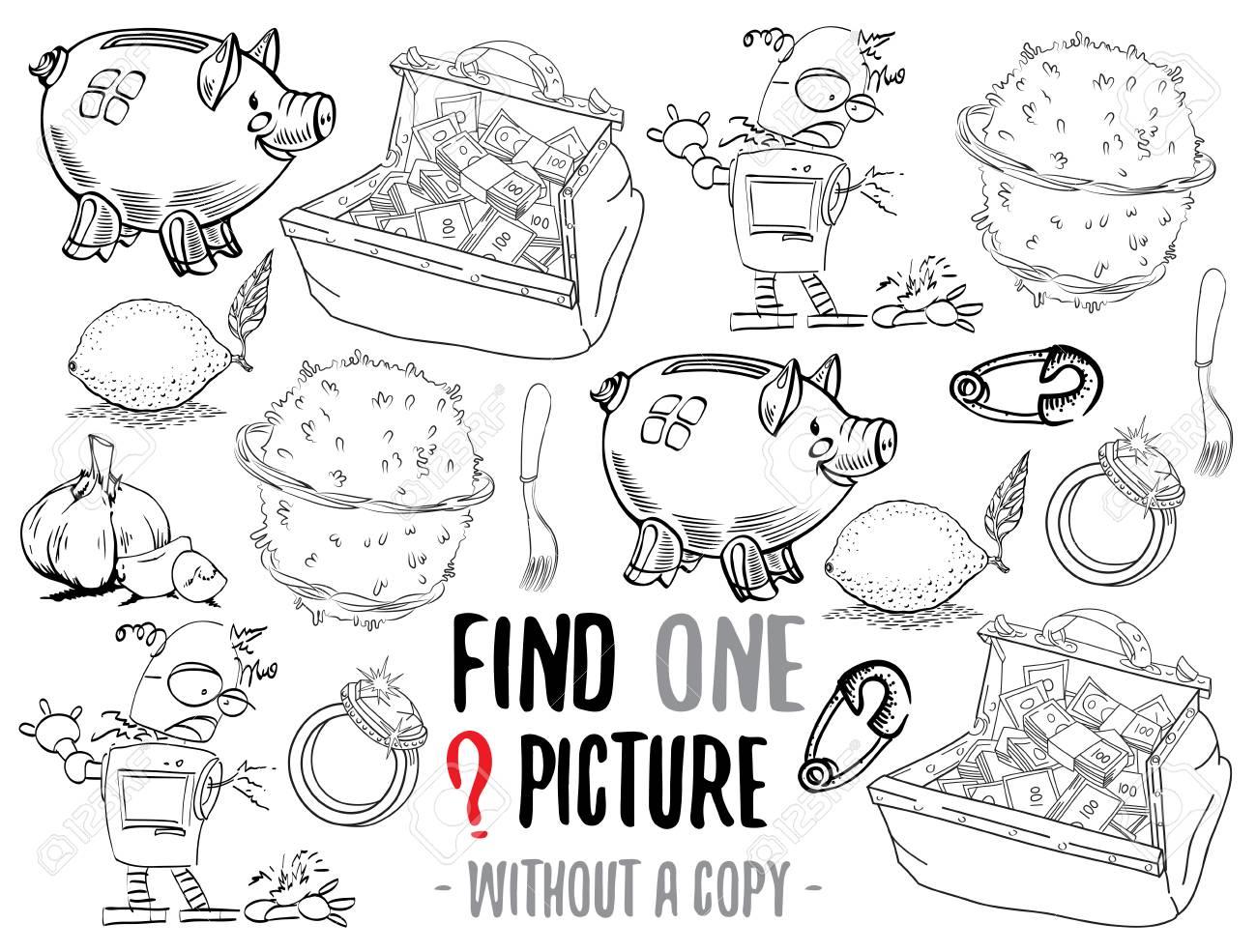Encuentra Una Imagen Sin Una Copia Juego Educativo Para Niños Con Personajes De Dibujos Animados Personajes Listos Para Colorear