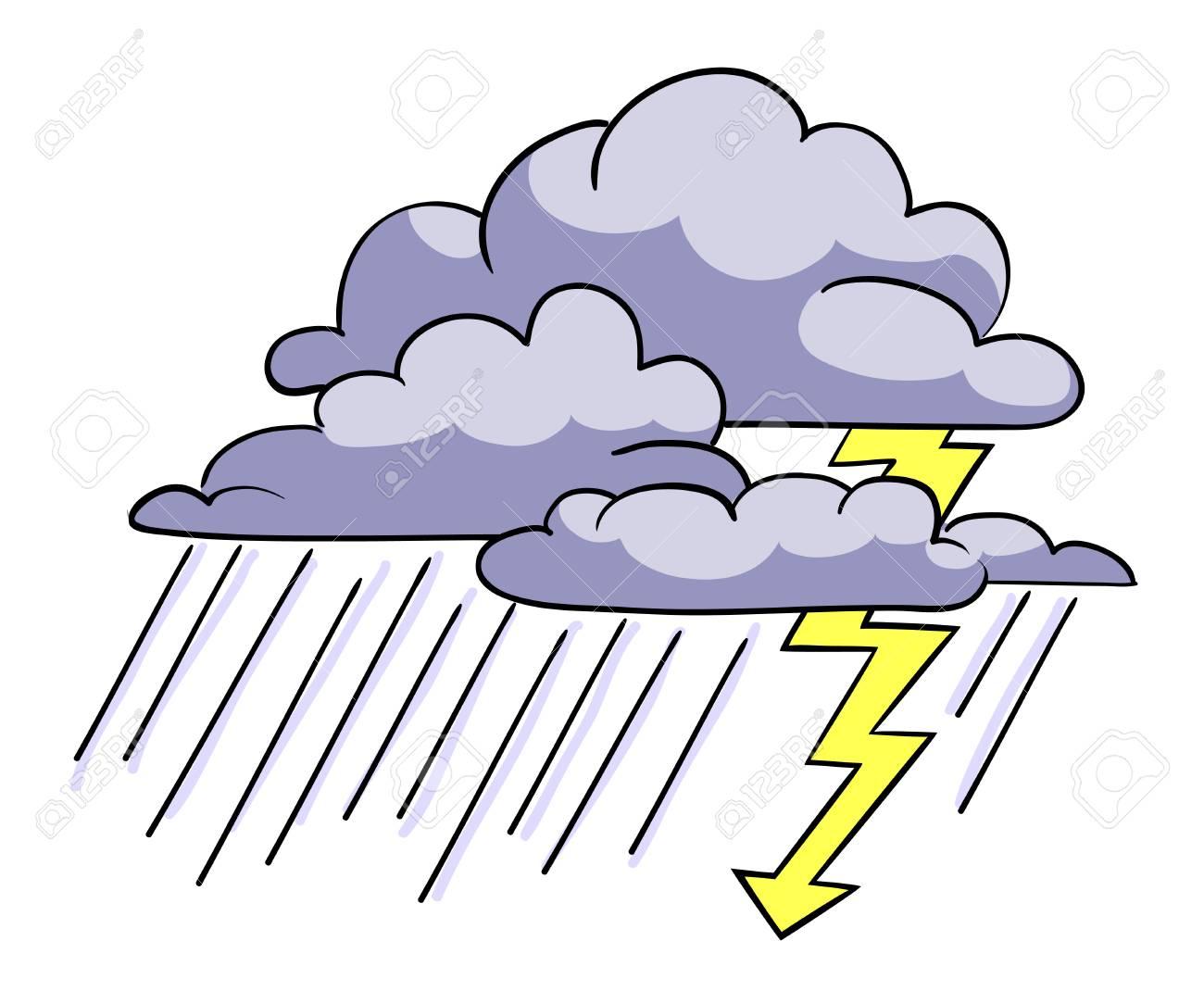 Image De Dessin Anime De L Icone De La Tempete Symbole De Rainstorm Banque D Images Et Photos Libres De Droits Image 81521281