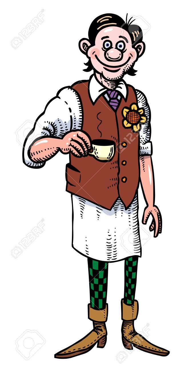 サービングのコーヒーのバリスタの漫画画像のイラスト素材ベクタ