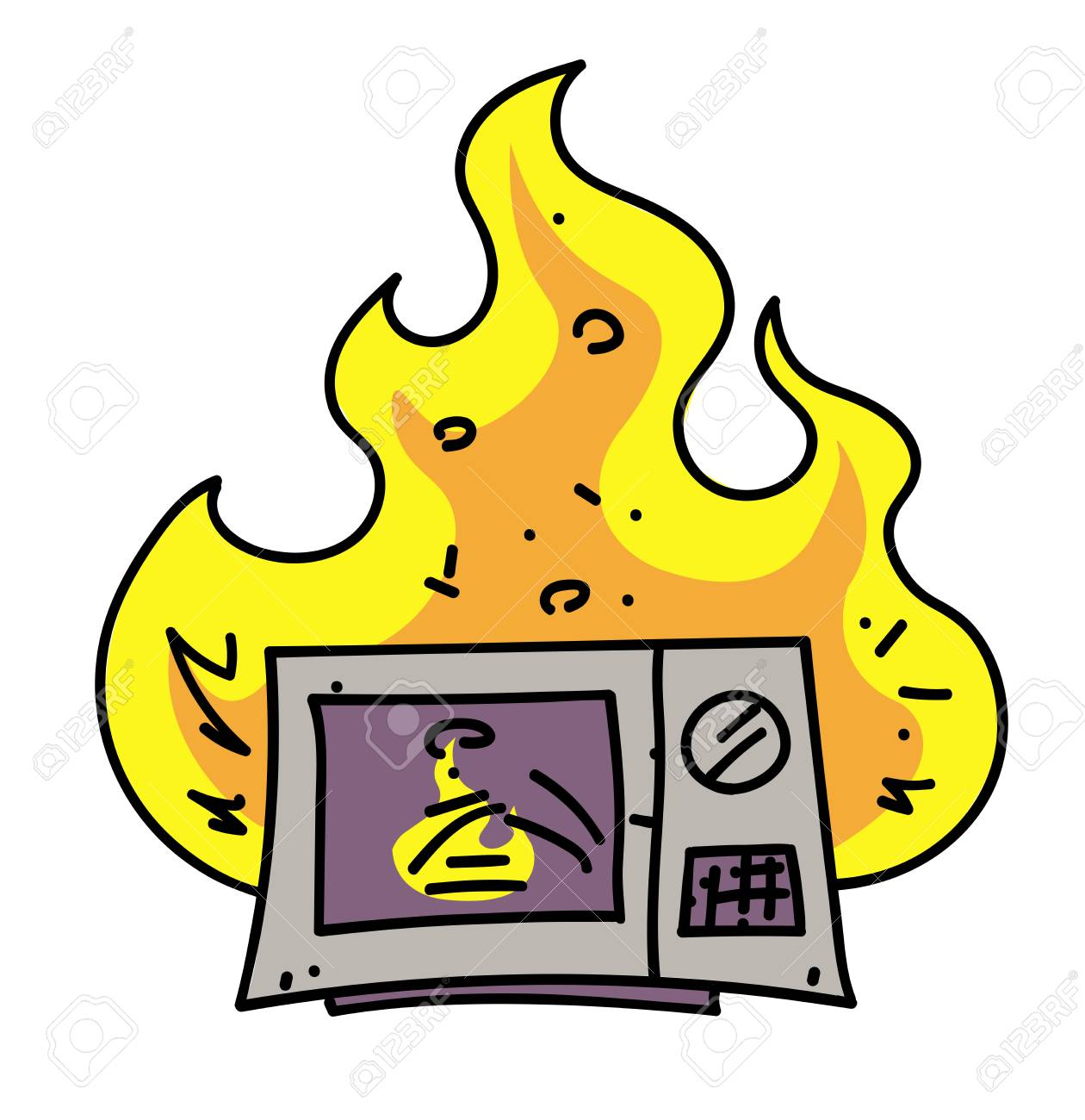 microwave oven on fire cartoon hand drawn image royalty free