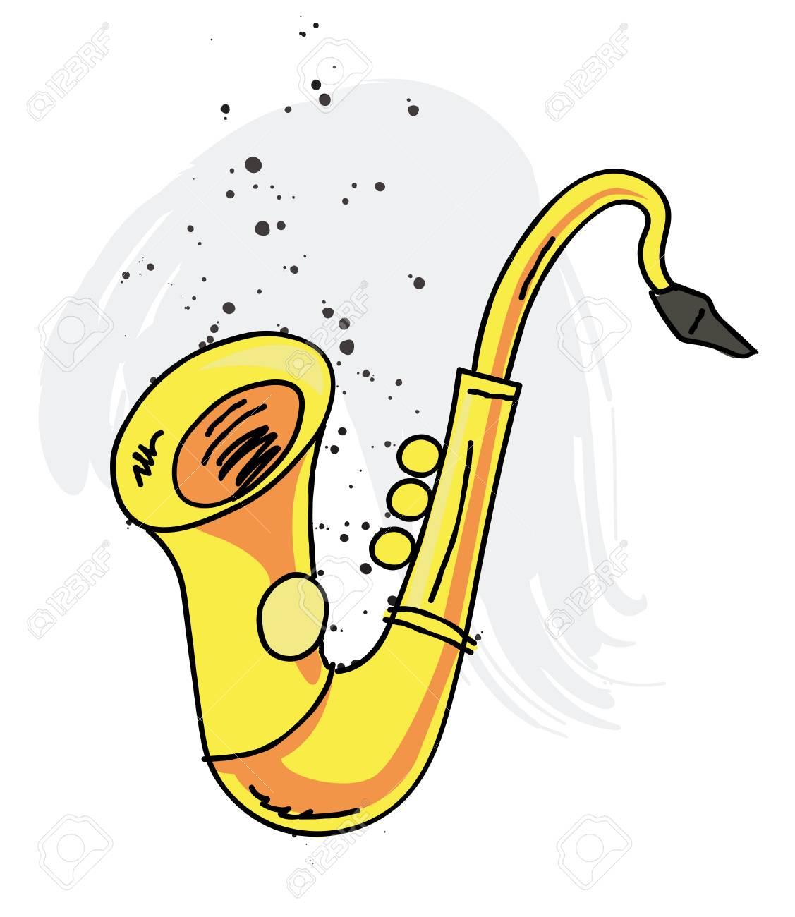 Dessin Saxophone saxophone cartoon hand drawn image royalty free cliparts, vectors
