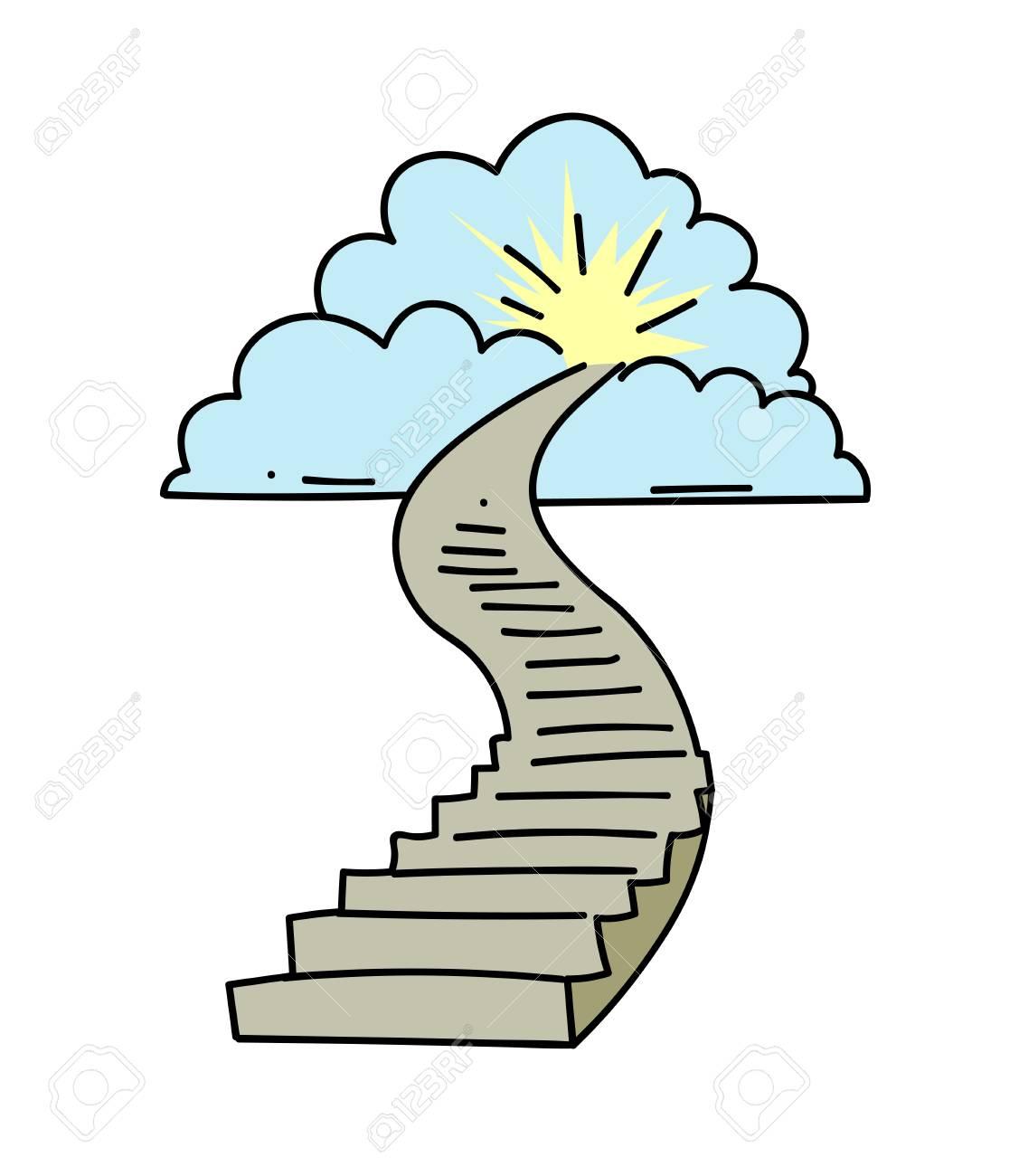 Hand drawn cartoon image of stairway to heaven. - 86999311