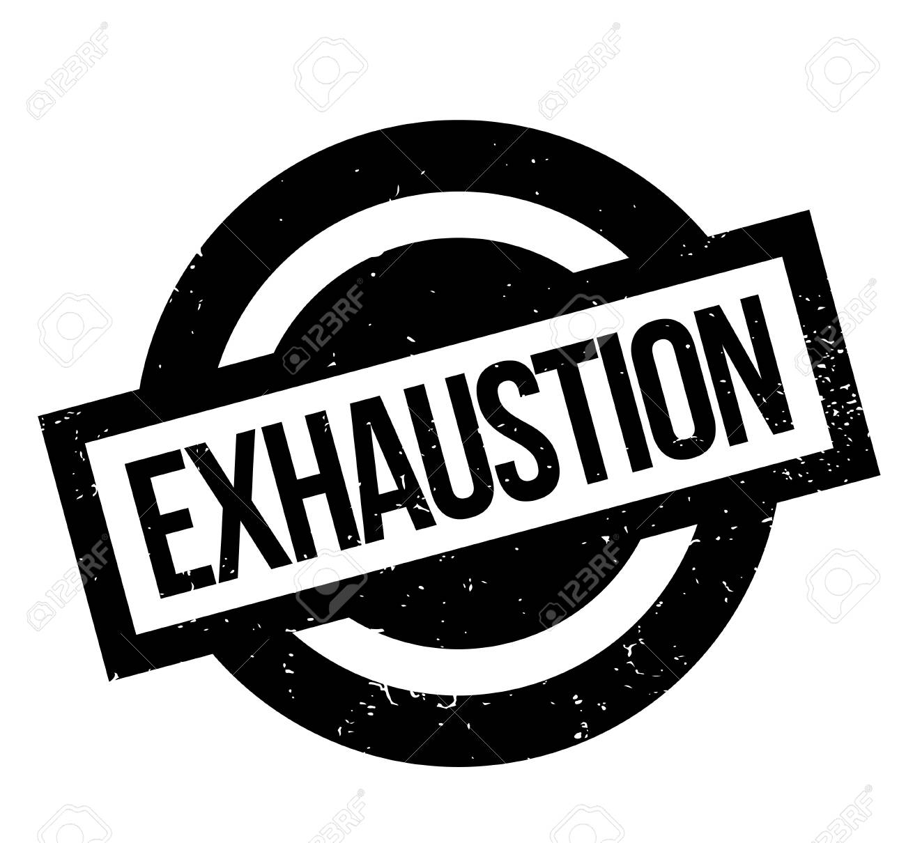 Exhaustion rubber stamp. Grunge design with dust scratches. Effects can be easily removed for a clean, crisp look. Color is easily changed. - 88592300