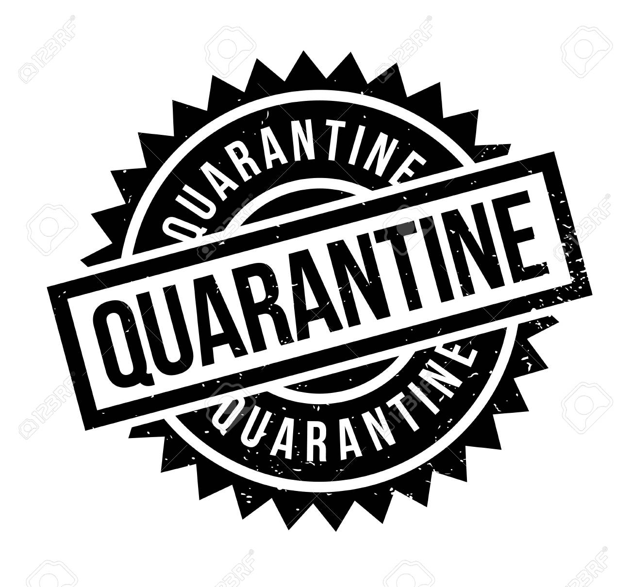 Quarantine Rubber Stamp Grunge Design With Dust Scratches Effects