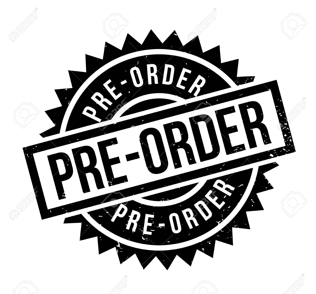 Pre-Order rubber stamp. Grunge design with dust scratches. Effects can be easily removed for a clean, crisp look. Color is easily changed. - 95771474