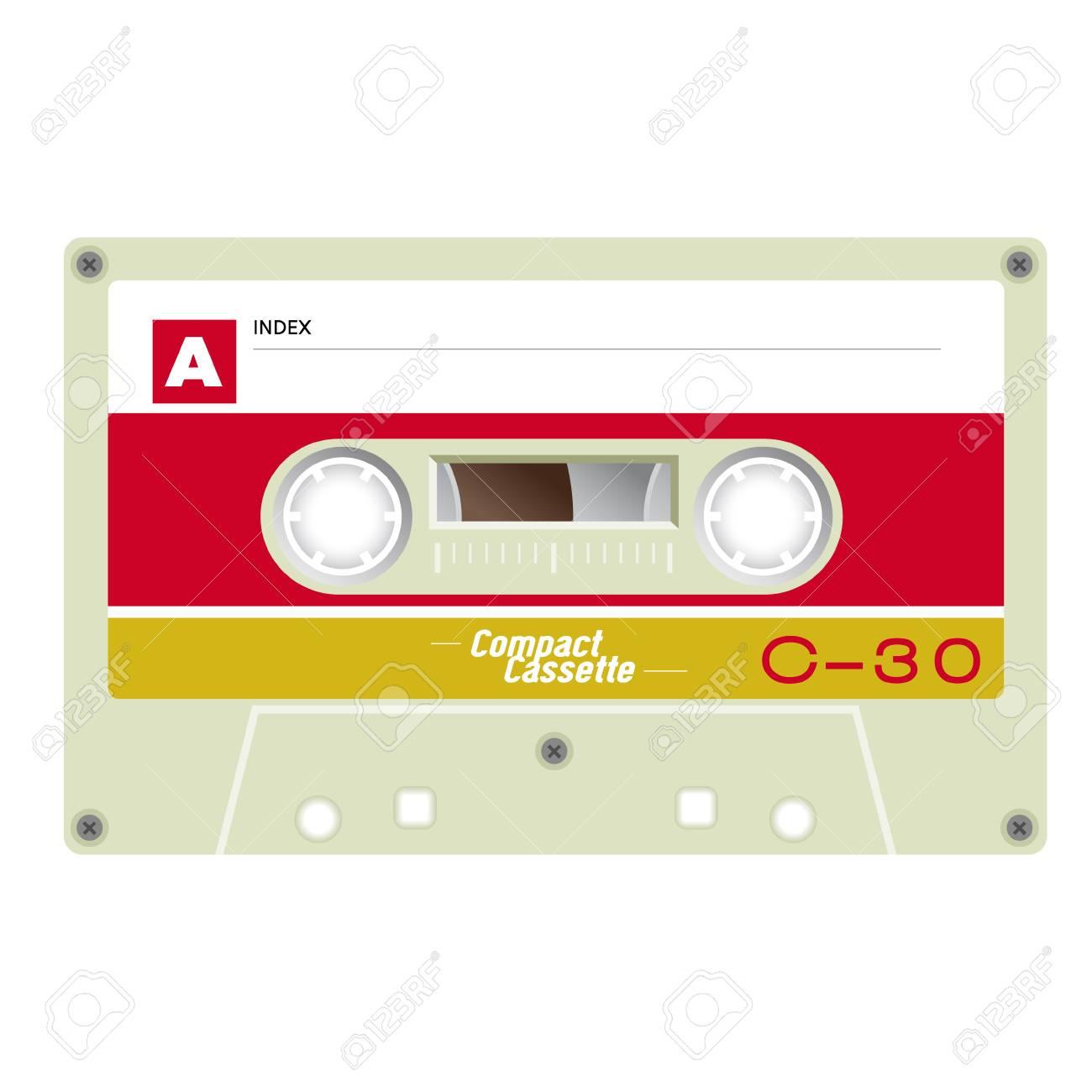 Old school compact cassette tape, 80s design  Vector illustration