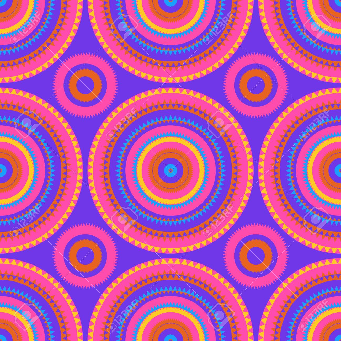 Vibrant circular large scale seamless pattern, abstract colorful background, texture. - 112173940