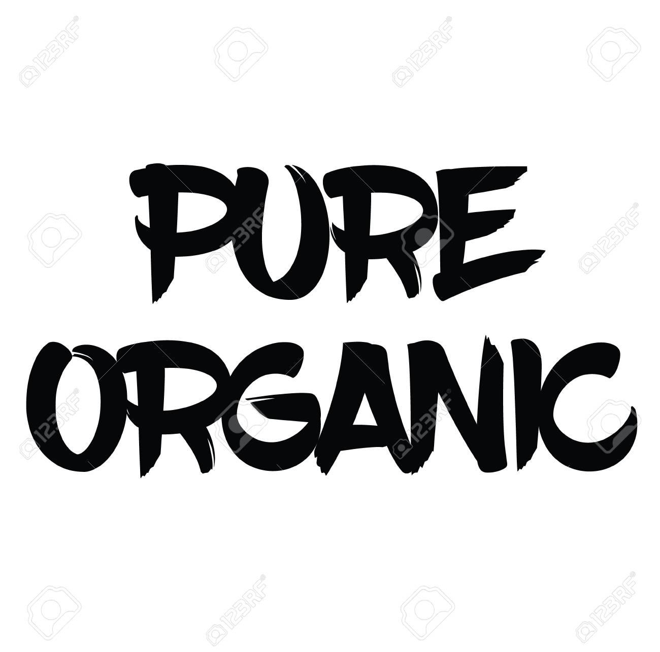 pure organic black stamp on white background. Sign, label, sticker - 110404009