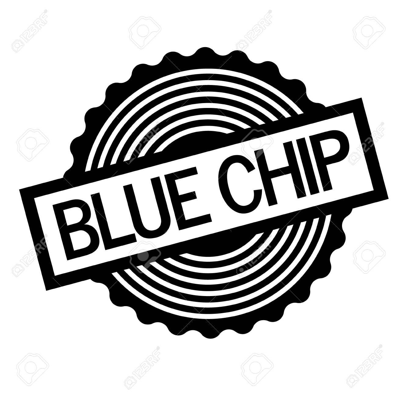 Blue chip black stamp on white background. Flat illustration - 124418004