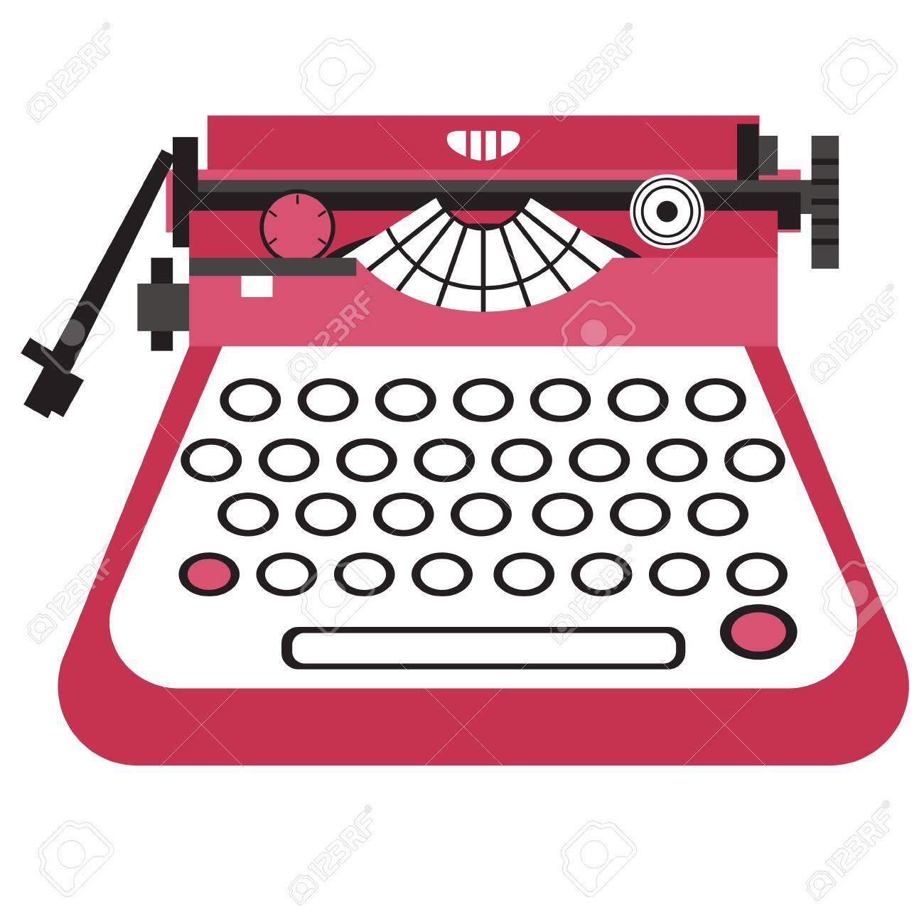 Typewriter flat illustration on white. Home, lifestyle and fashion objects series. - 124213817
