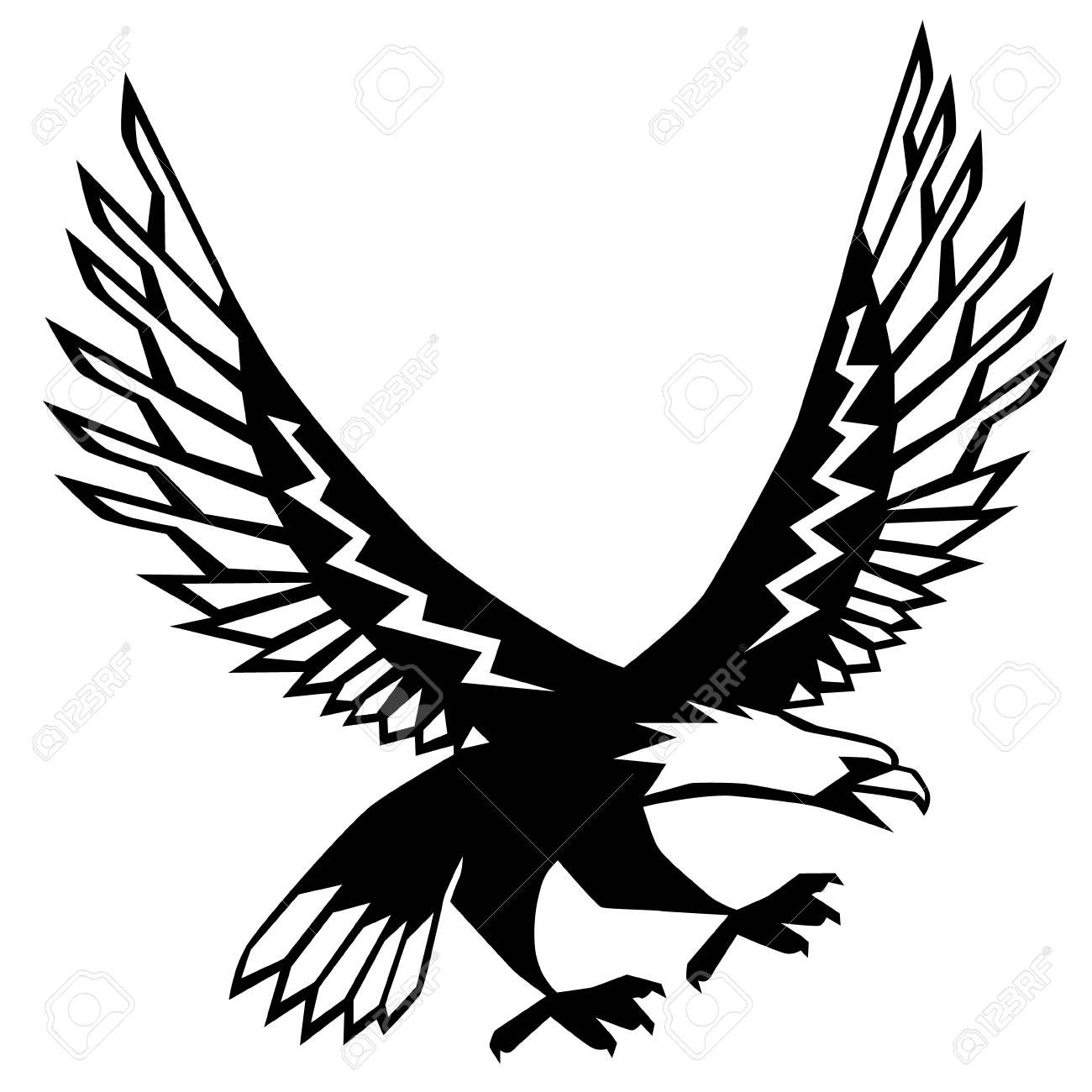 Flying eagle flat illustration on white