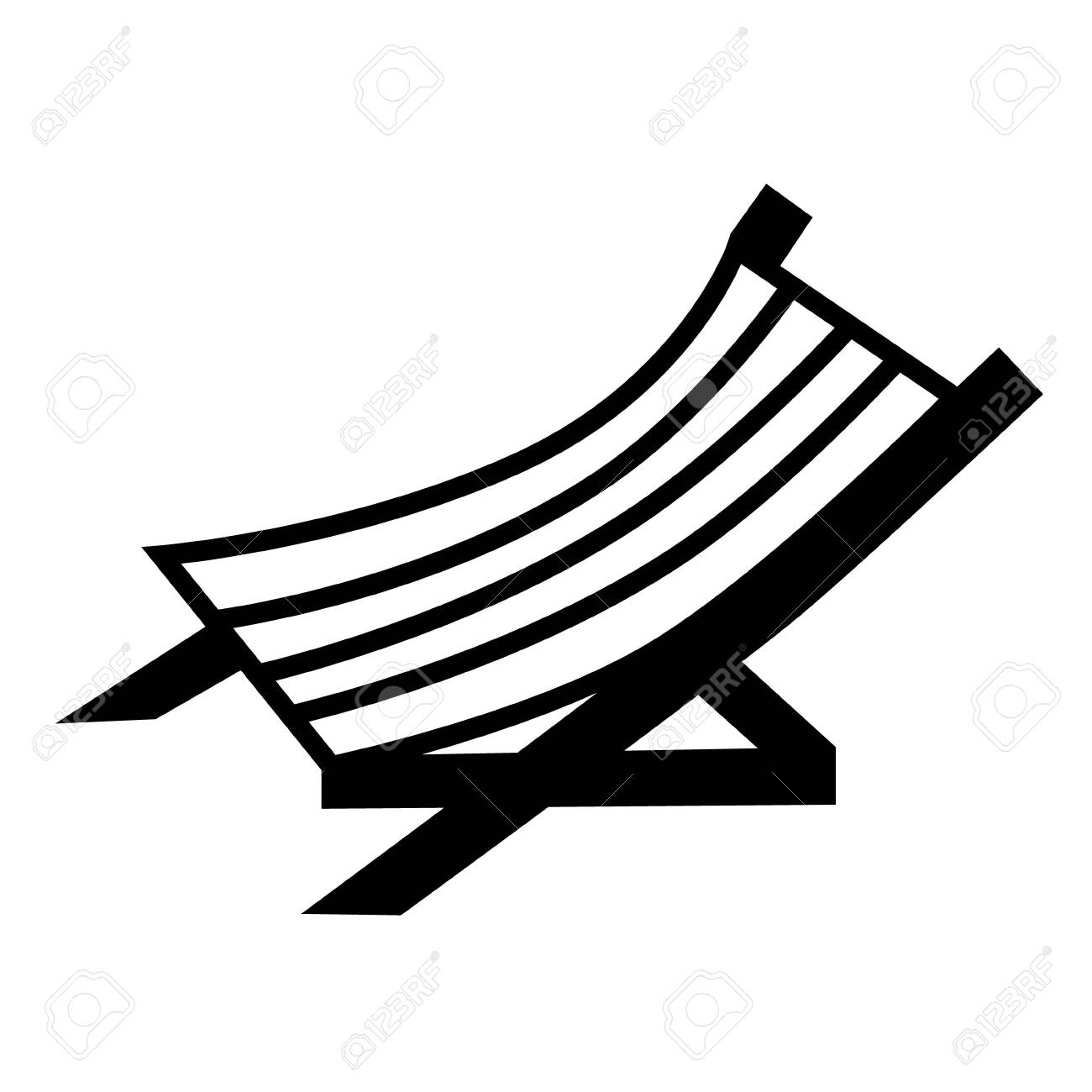 Hammock Chair Flat Illustration On White Beach Vacation And