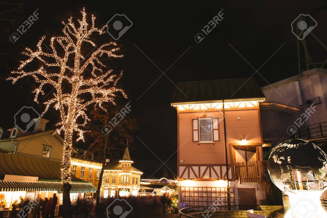 christmas lights in park sweden xmas celebration concept stock photo 66646525 - Celebration Christmas Lights