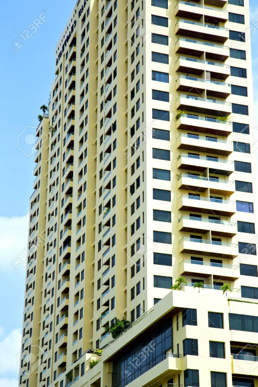 Tailandia Bangkok Oficina Distrito Palacios Resumen Moderno Edificio Línea Cielo Terraza Rascacielos Reflejo