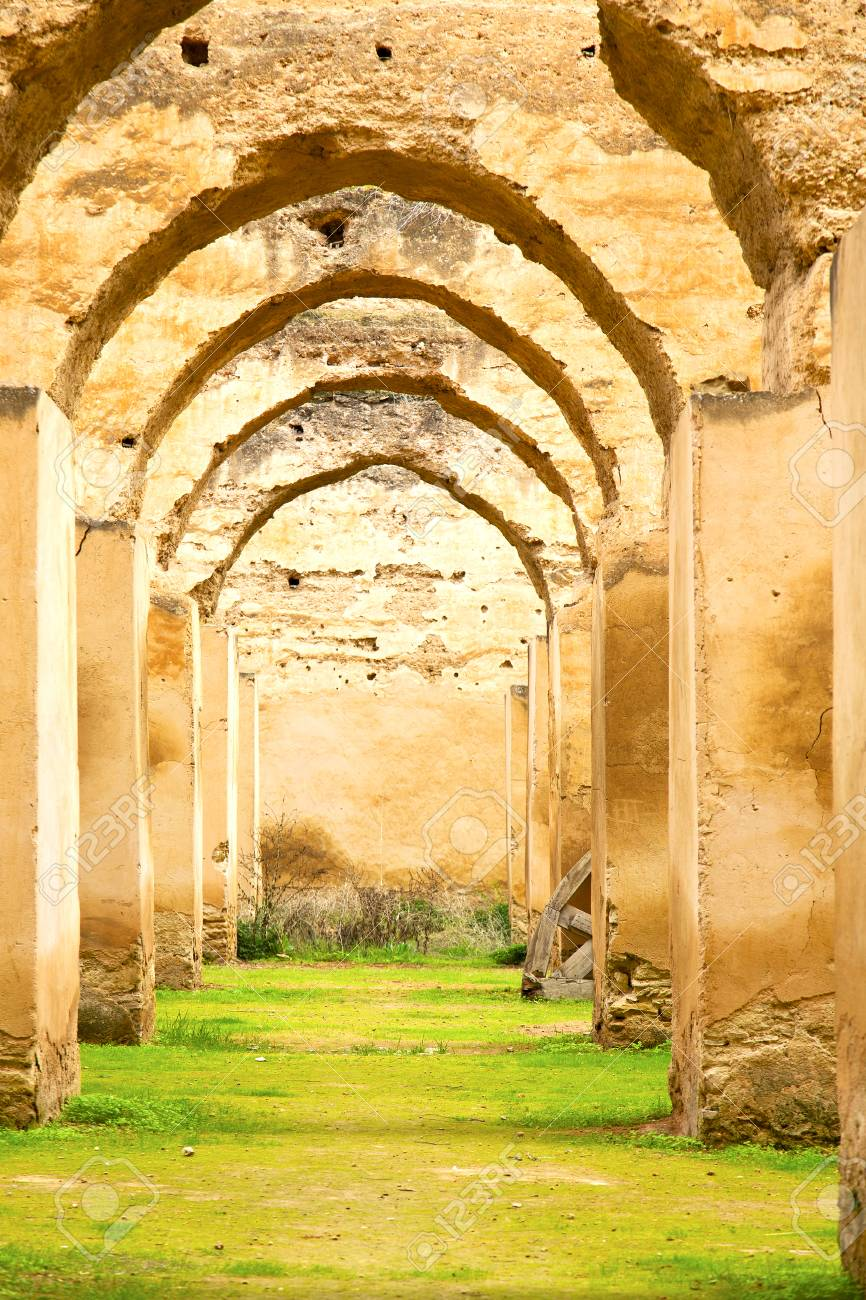 Old Moroccan Granary In The Green Grass And Archway Wall Stock ... for Moroccan Archway  117dqh