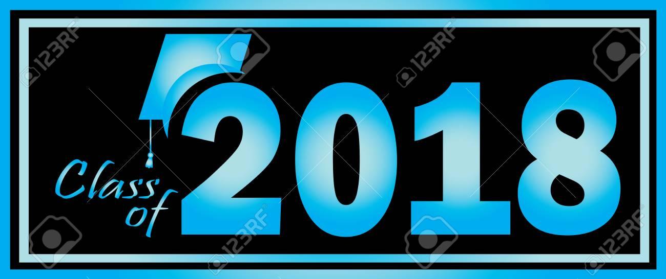 Class of 2018 Graduation Blue and Black design template