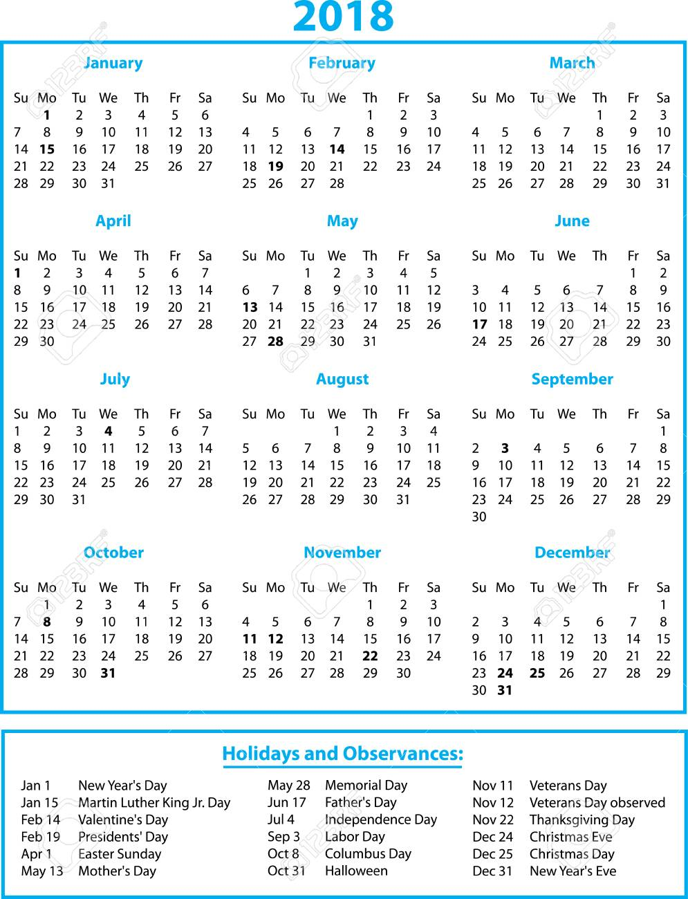 Calendario Con Festivita.Calendario 2018 Blu Con Mesi E Festivita