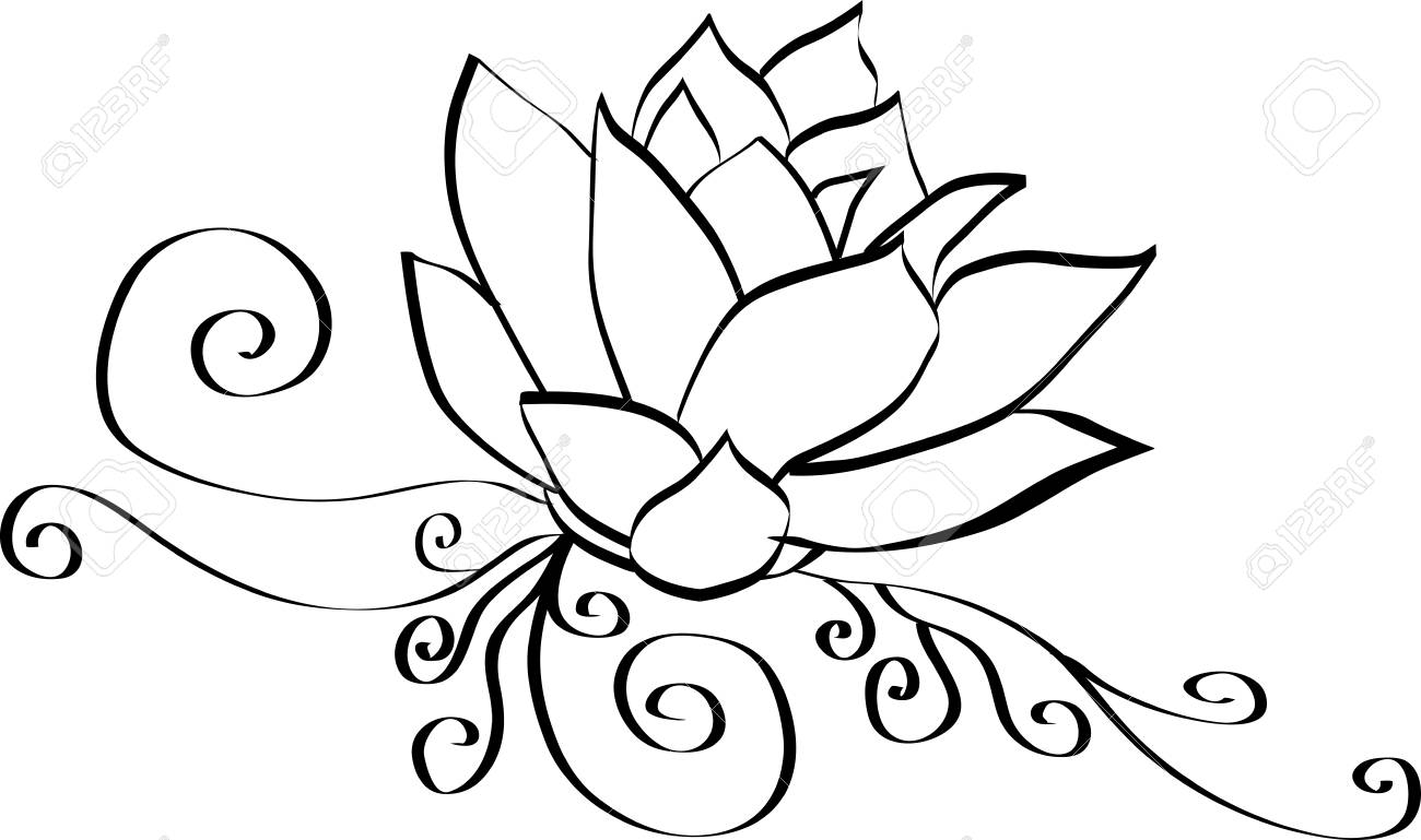 Elegant Lotus Flower Black And White Outline Royalty Free Cliparts