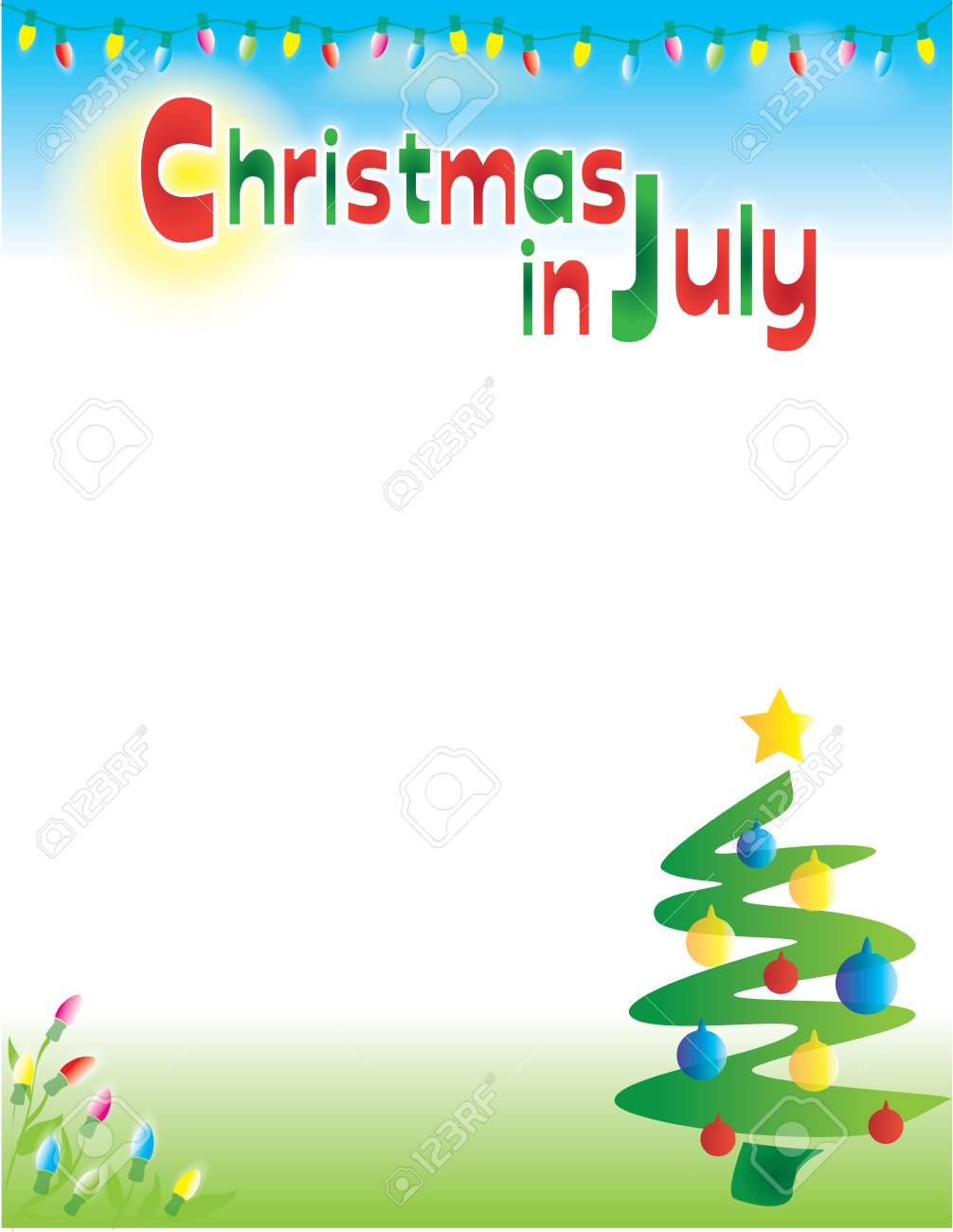Christmas In July Clipart Free.Christmas In July Background Template Postcard Flyer