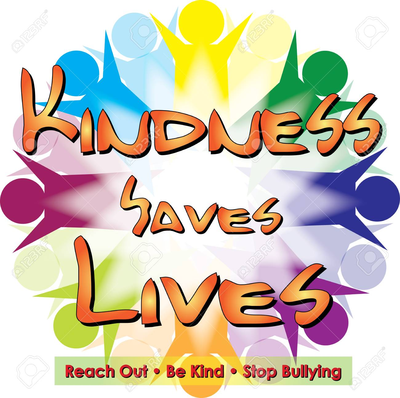 Kindness Saves Lives Logo isolated on colorful background. - 97902826