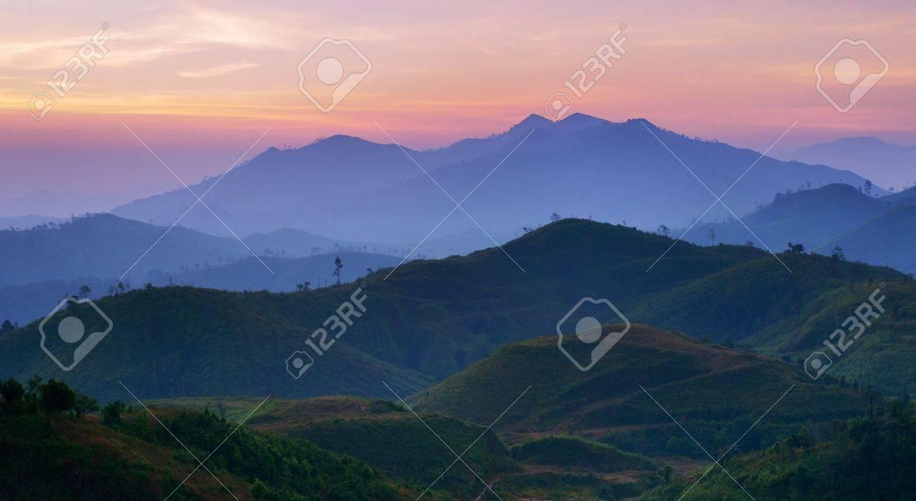 Landscape of sunrise over mountains in Kanchanaburi,Thailand Stock Photo - 8176971