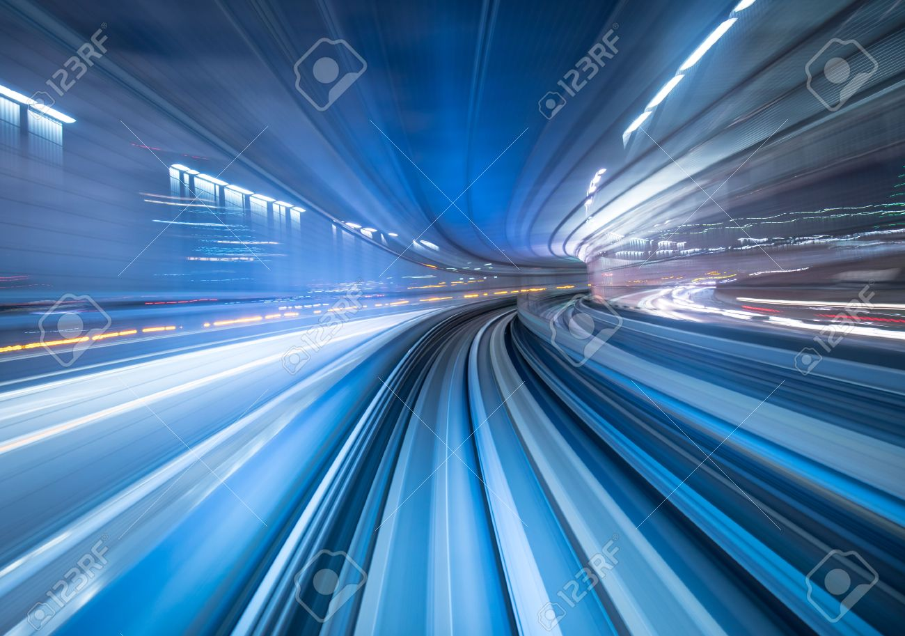 Motion blur of train moving inside tunnel in Tokyo, Japan - 48049855