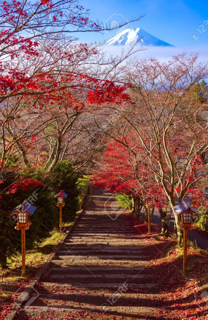 Path to Mt. Fuji in autumn, Fujiyoshida, Japan - 121721791