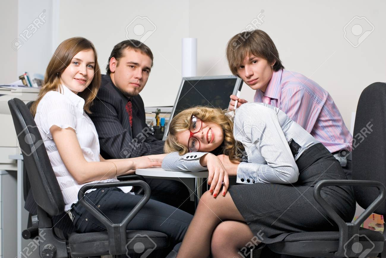 Tired businesswoman on business meeting in office Stock Photo - 8048680