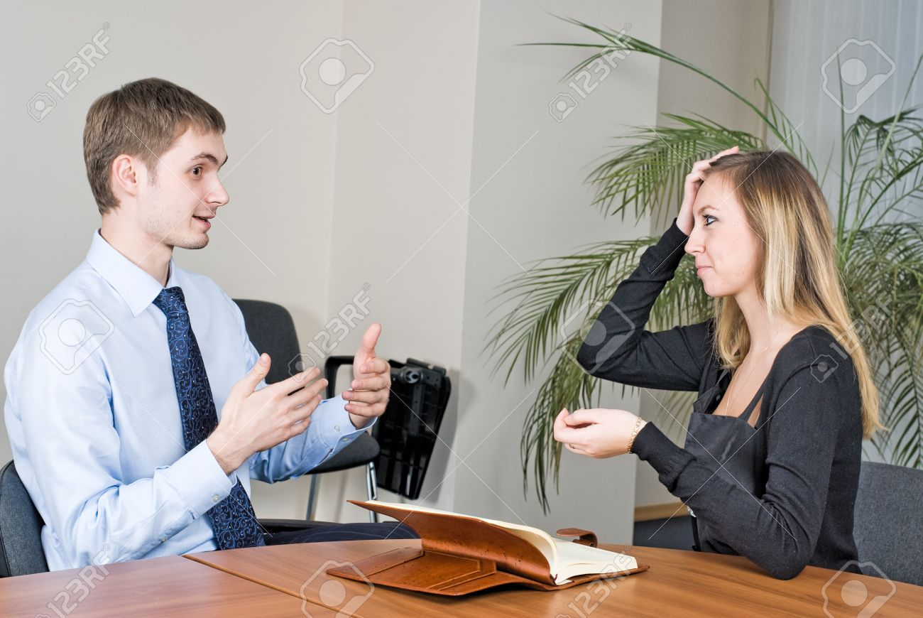 two businesspeople at an interview in the office stock photo stock photo two businesspeople at an interview in the office