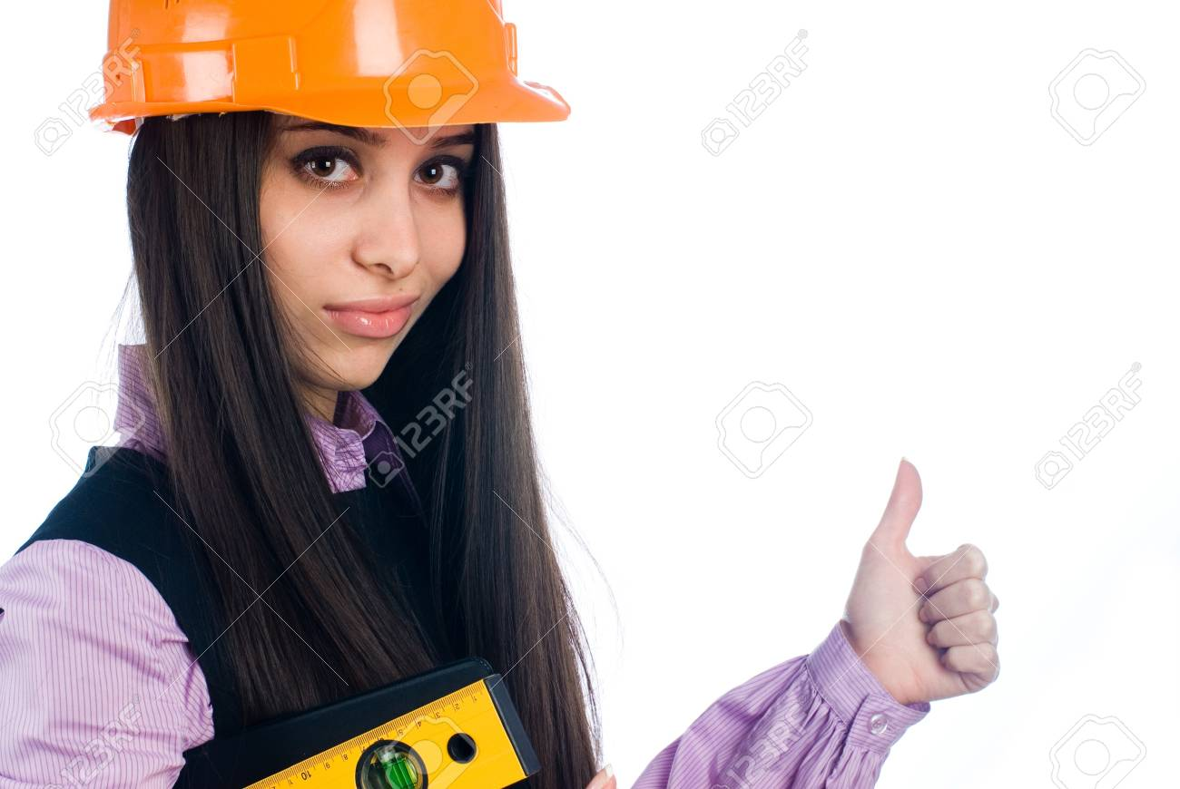 Girl with level Stock Photo - 8800459