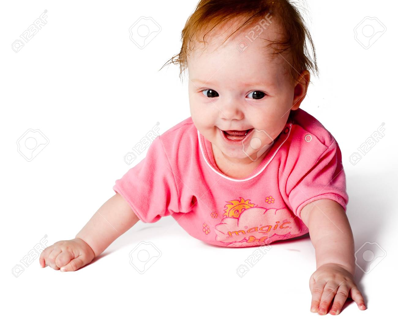Close up beautiful 5 monthes old caucasian baby girl Stock Photo - 15255973