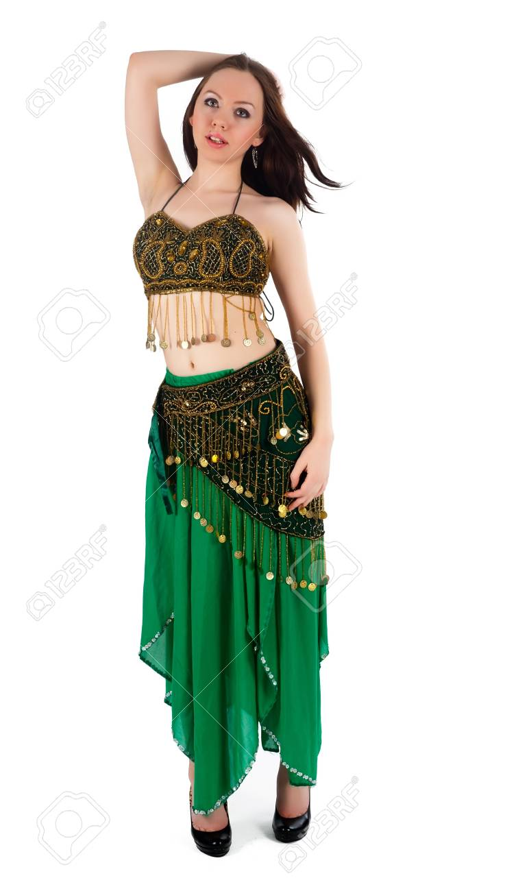 Beautiful Girl In Belly Dance Costume On A White Background Stock