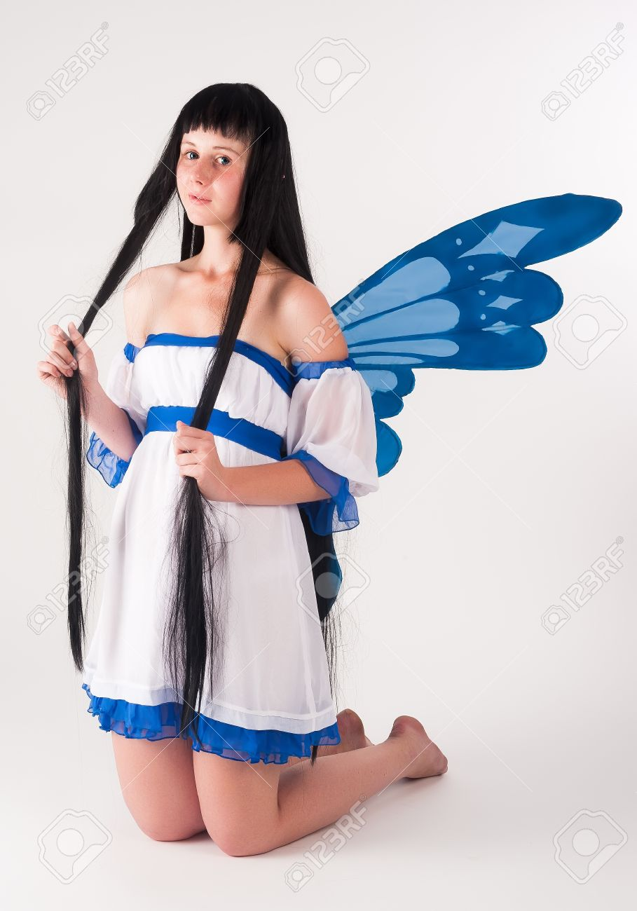 Beautiful Anime Girl With Long Hair And Wings At White Background