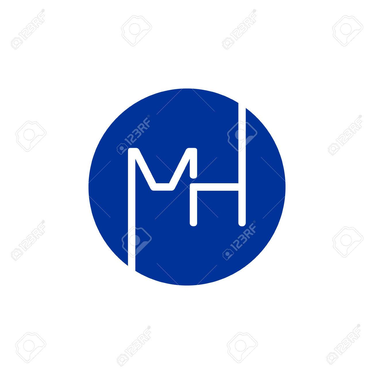 letter m and h logo icon design template elements royalty free