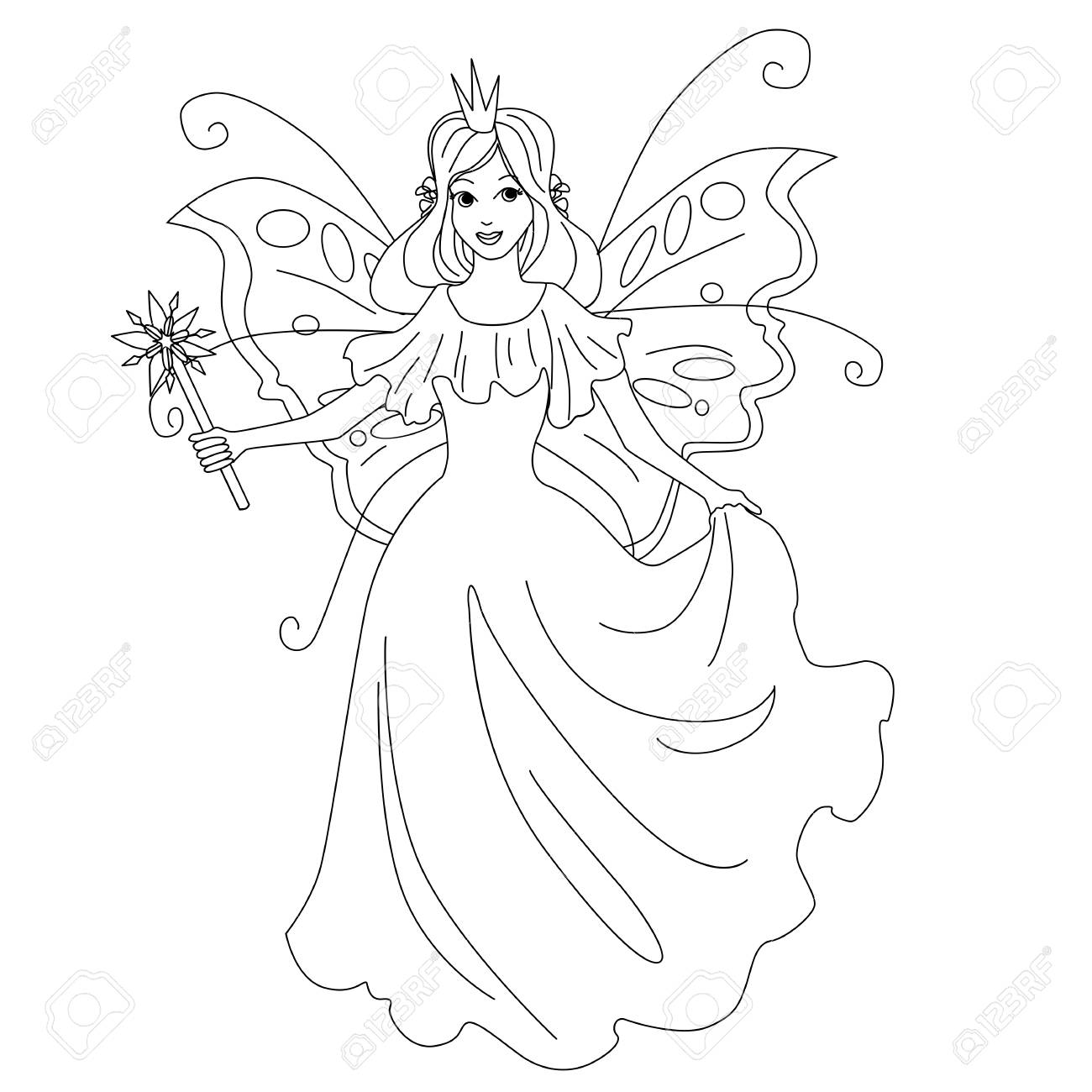 Magic Fairy Princess Isolated Illustration Vector Coloring Page Royalty Free Cliparts Vectors And Stock Illustration Image 127208115