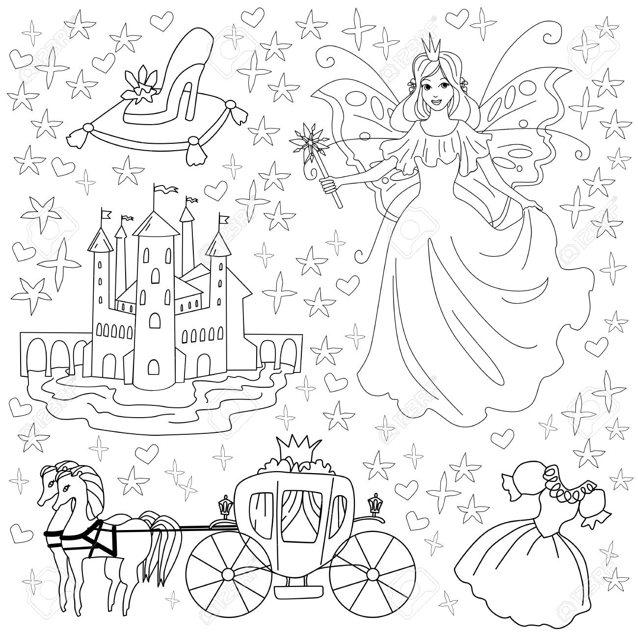 Fairy Tale Coloring Page For Kids. Vector Illustration Of Princess ...