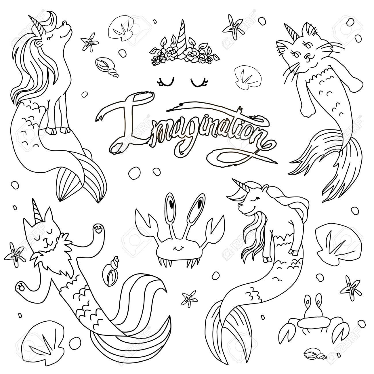 Caticorns And Unicorns Mermaid Vector Illustration Coloring