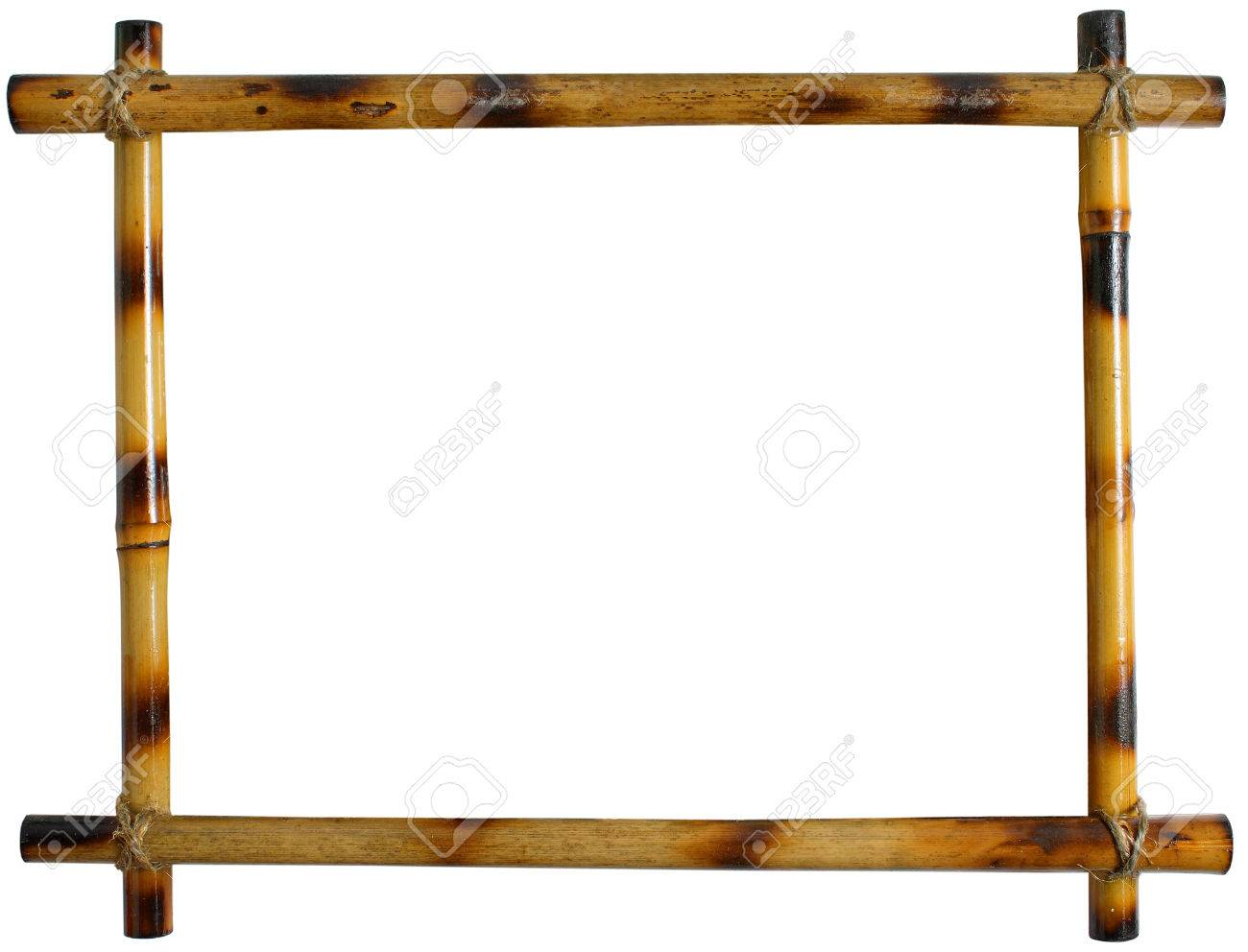 Bambus-Rahmen Auf Weißem Hintergrund. Sticks Mit Seil Gebunden ...