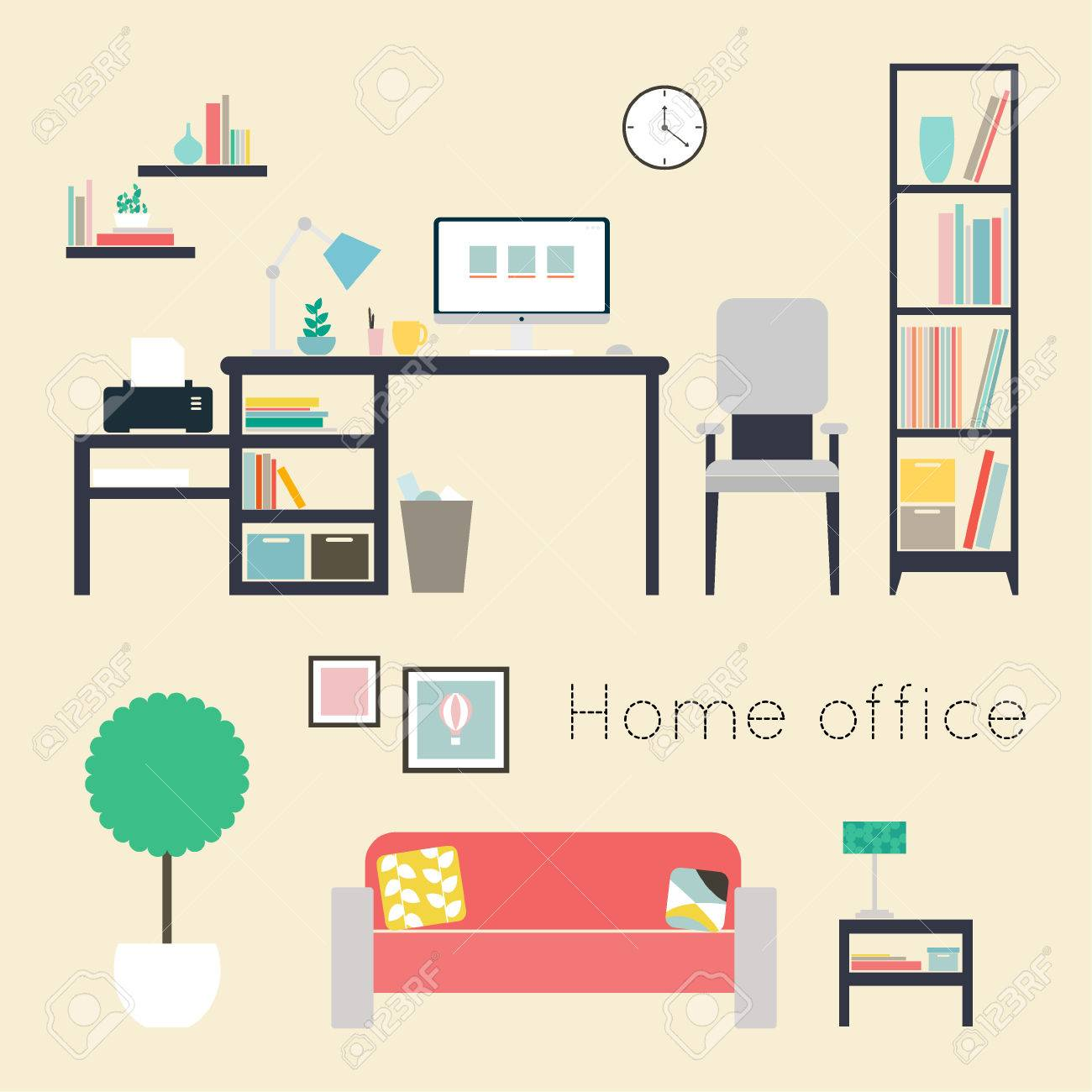... Home Office Furniture And Accessories Flat Design Vector Illustration  Of Modern Home Office Interior ...